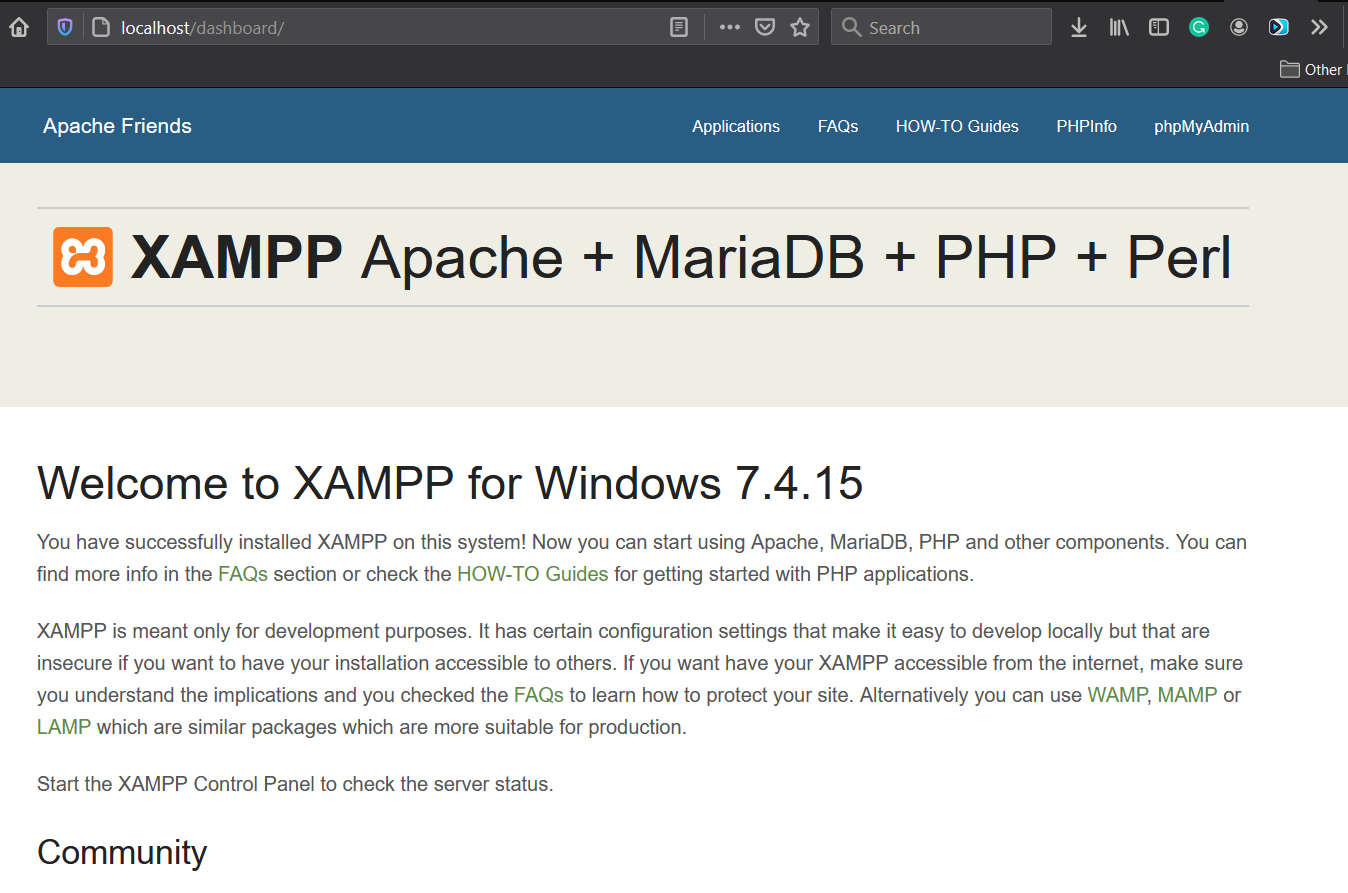 Install XAMPP With PHP 8 on Windows 10 - Dashboard