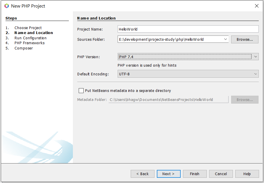 Install NetBeans 12 for PHP On Windows 10 - Configure Project