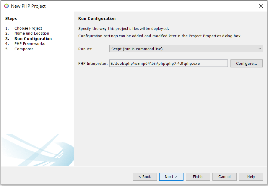 Install NetBeans 12 for PHP On Windows 10 - Run Configuration