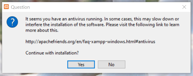 Install XAMPP on Windows 10 - Antivirus Warning