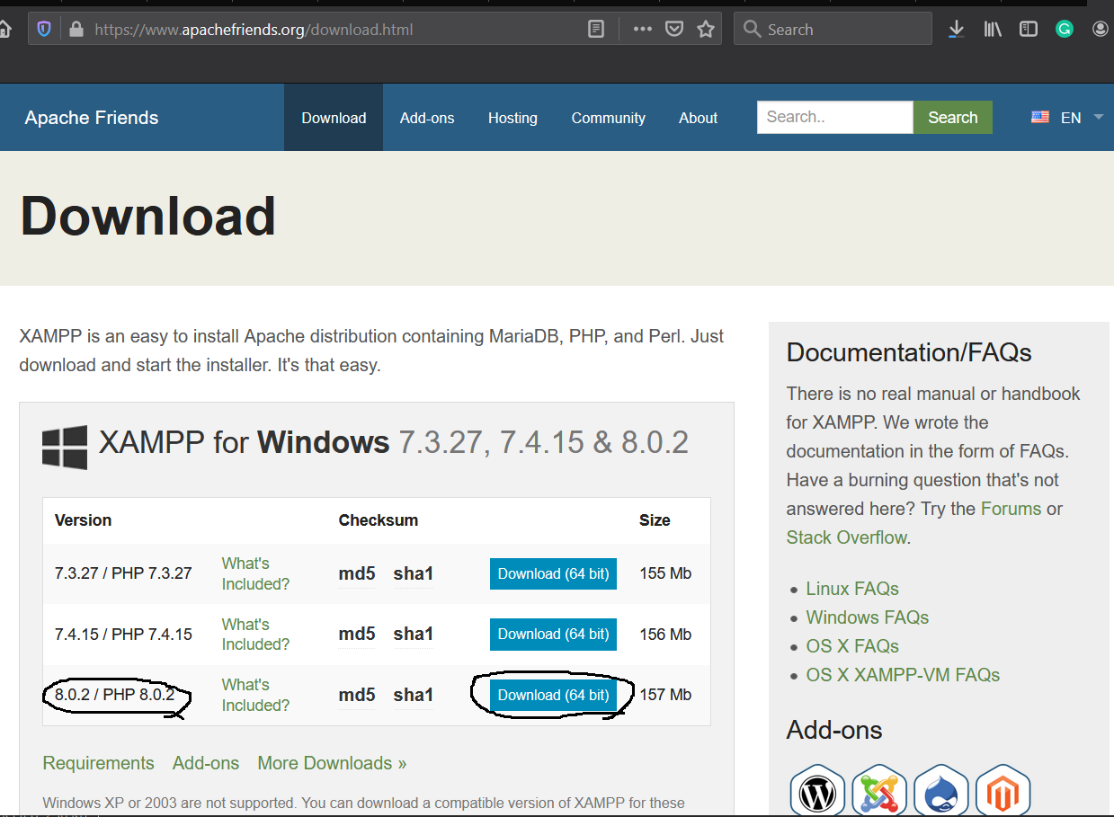 Install XAMPP With PHP 8 on Windows 10 - Download Options