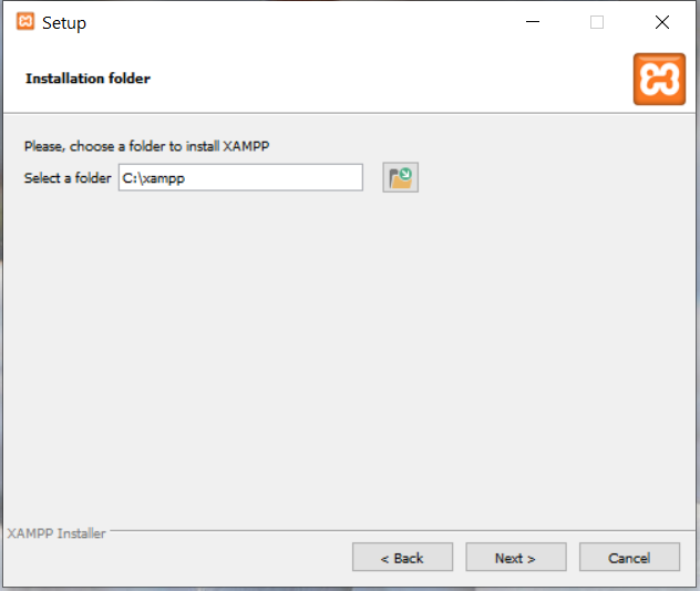 Install XAMPP on Windows 10 - Installation Path