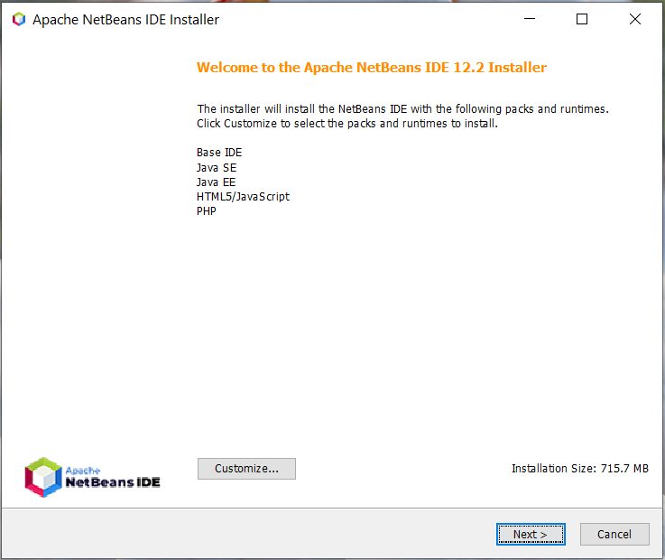 Install NetBeans 12 for PHP On Windows 10 - Installation Components