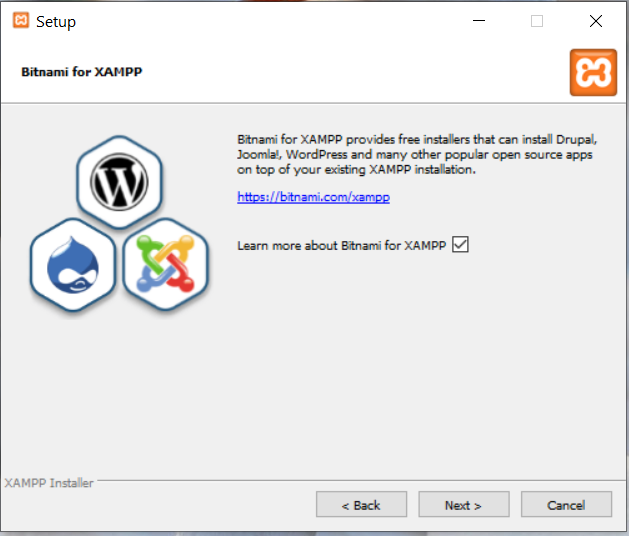 Install XAMPP on Windows 10 - Bitnami Options