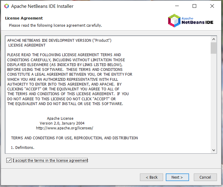 Install NetBeans 12 for PHP On Windows 10 - License Agreement