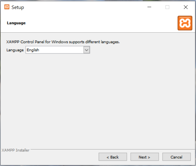 Install XAMPP With PHP 8 on Windows 10 - Language Selection