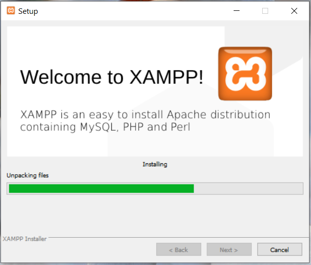 Install XAMPP on Windows 10 - Installation Progress
