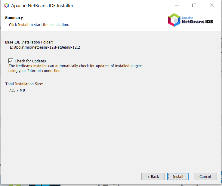 Install NetBeans 12 for Java On Windows 10 - Installation Summary