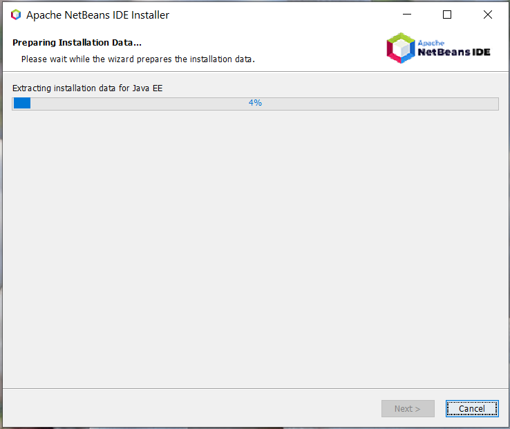Install NetBeans 12 for Java On Windows 10 - Installation Progress