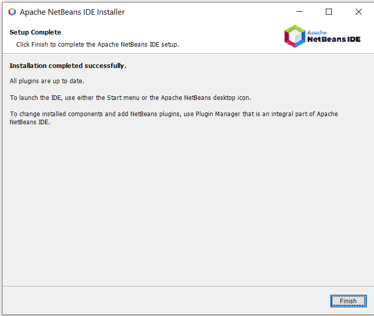 Install NetBeans 12 for Java On Windows 10 - Installation Success