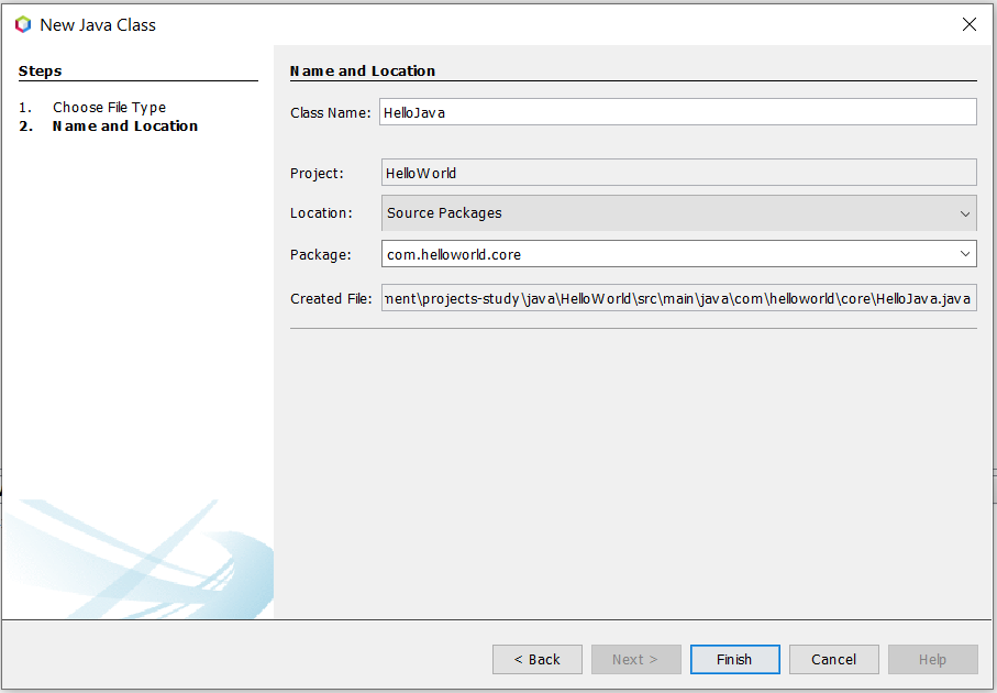 Install NetBeans 12 for Java On Windows 10 - Configure Java Class