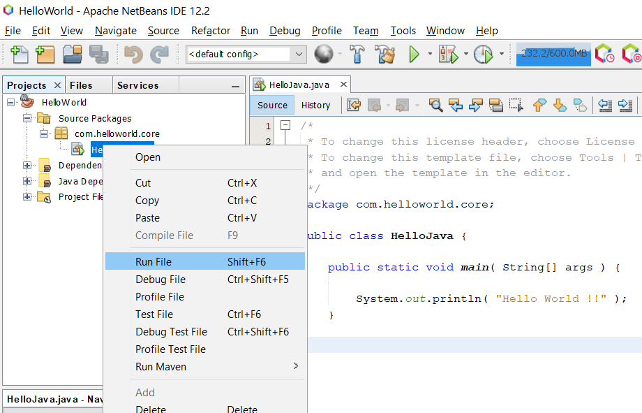 Install NetBeans 12 for Java On Windows 10 - Execute Java Class