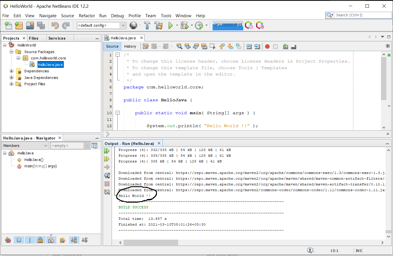 Install NetBeans 12 for Java On Windows 10 - Java Program Output