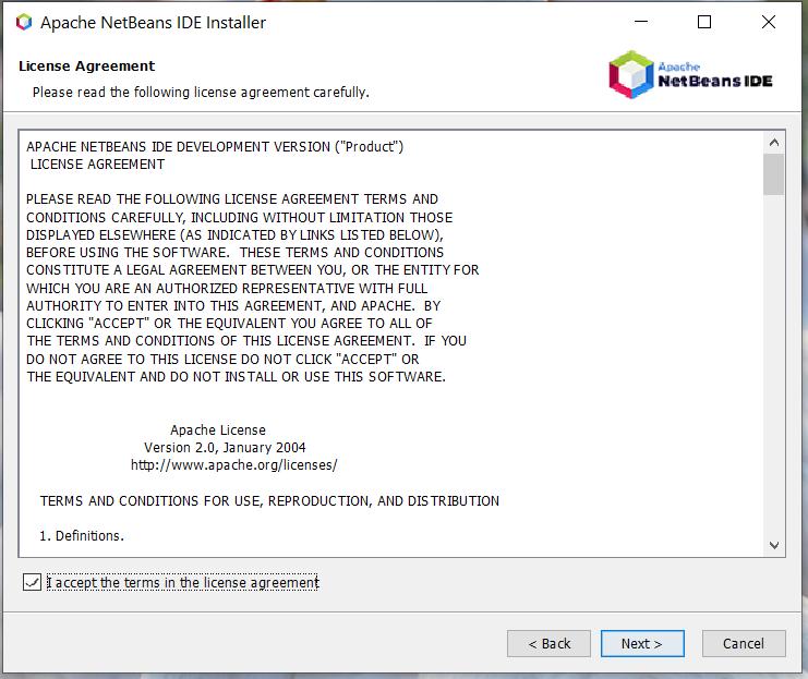 Install NetBeans 12 for Java On Windows 10 - License Agreement