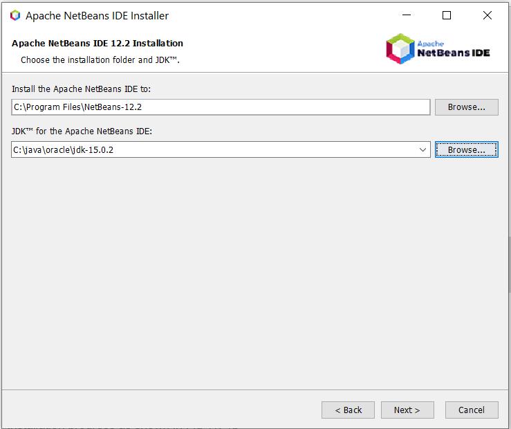Install NetBeans 12 for Java On Windows 10 - Configure Installation Path and JDK