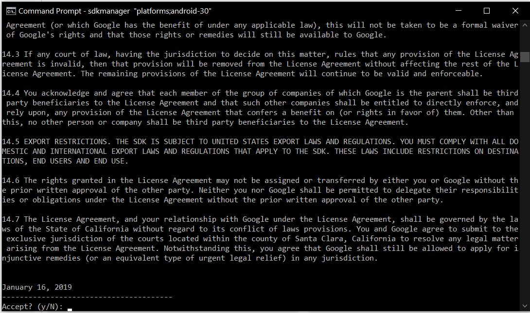 Install Android Platform Tools and SDK Manager on Windows 10 - SDK License Agreement