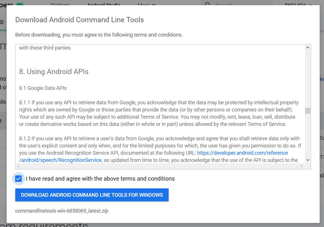 Install Android Platform Tools and SDK Manager on Windows 10 - License Agreement