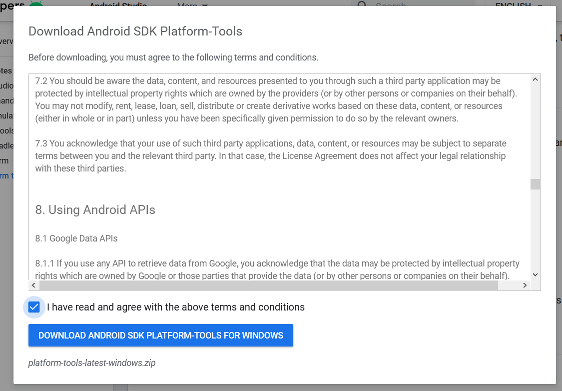 Install Android Platform Tools and SDK Manager on Windows 10 - Platform Tools - License Agreement