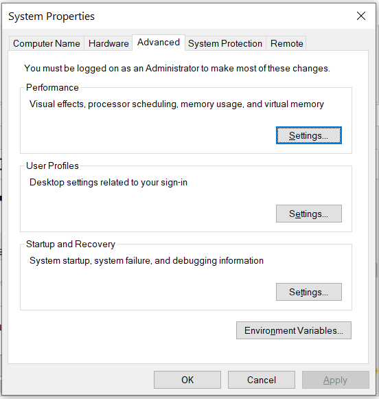 Install Android Platform Tools and SDK Manager on Windows 10 - System Properties