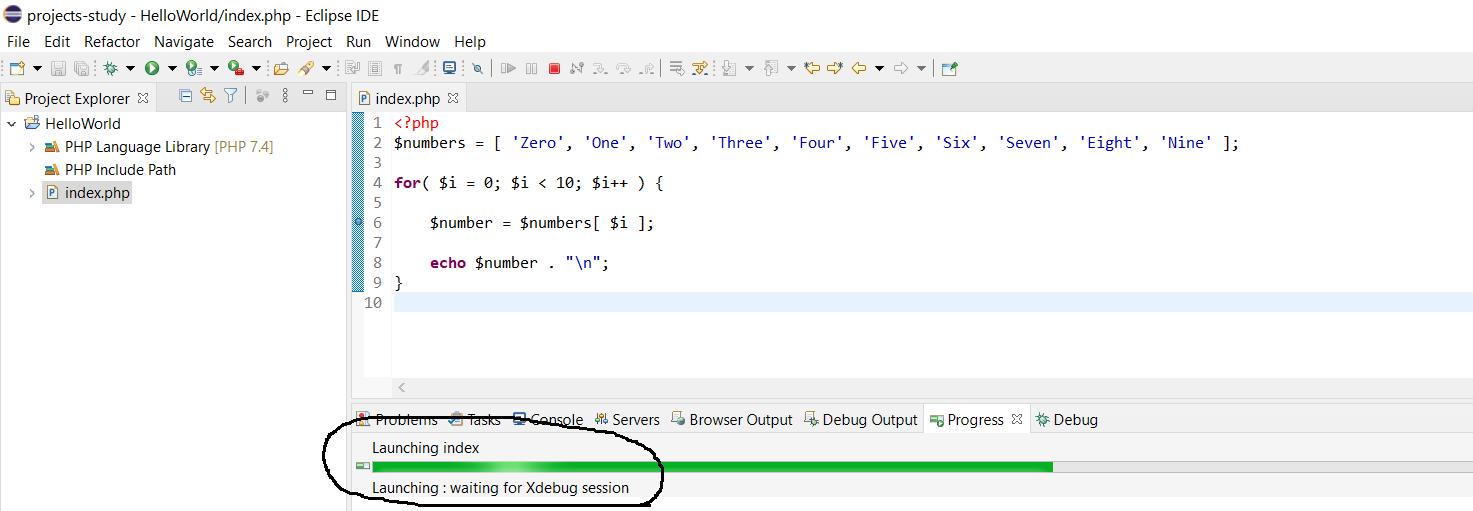 Debug PHP on Windows using Eclipse - Waiting for Xdebug Session