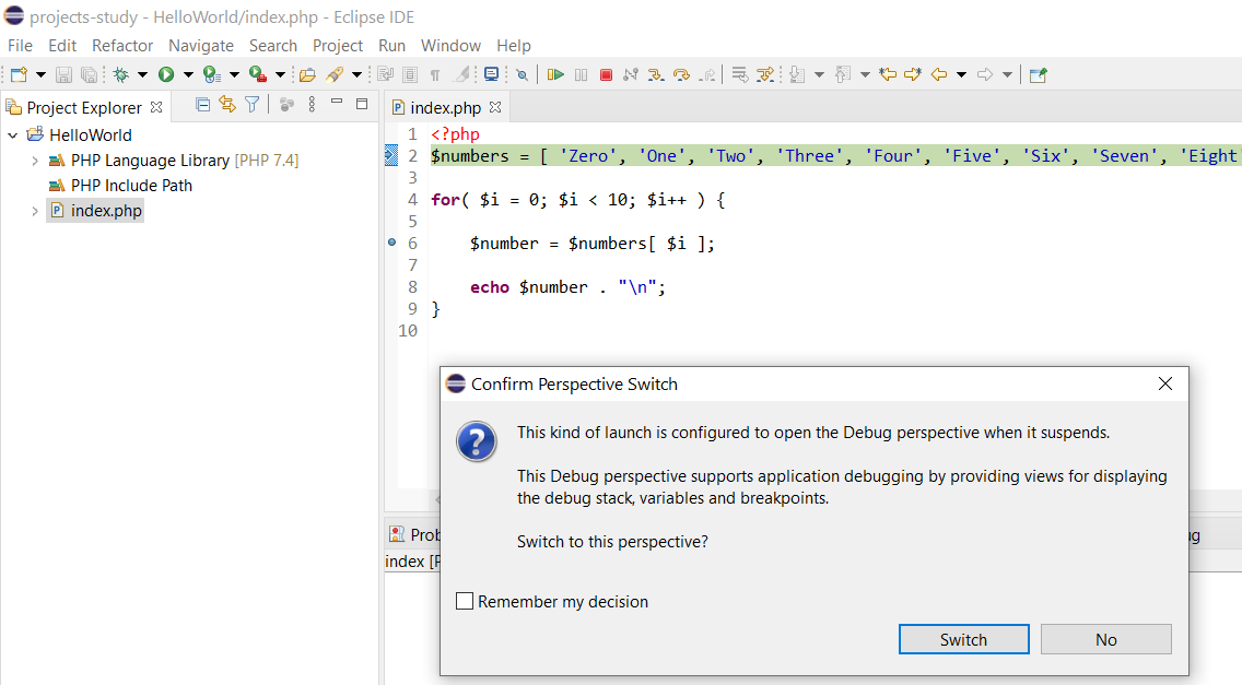 Debug PHP on Windows using Eclipse - Switch Perspective