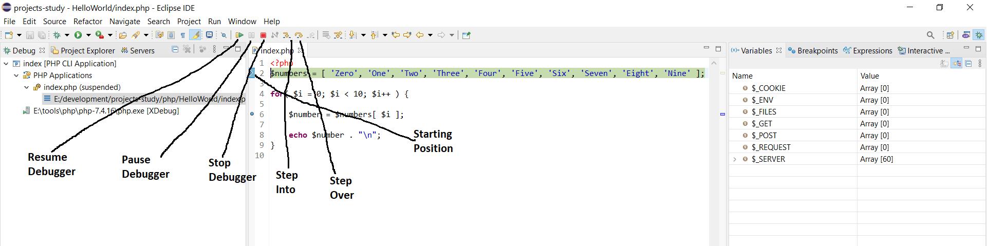 Debug PHP on Windows using Eclipse - Debug Keys