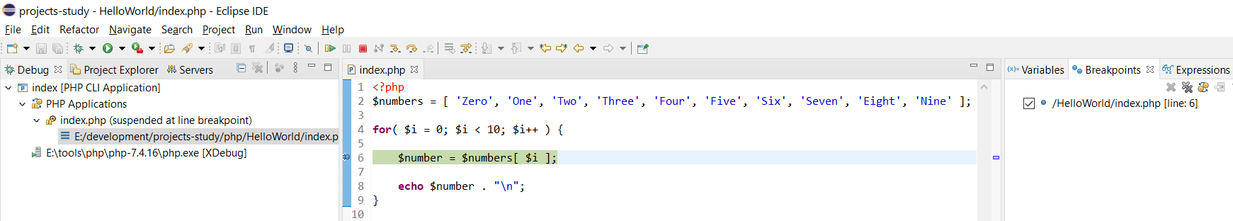 Debug PHP on Windows using Eclipse - Breakpoints