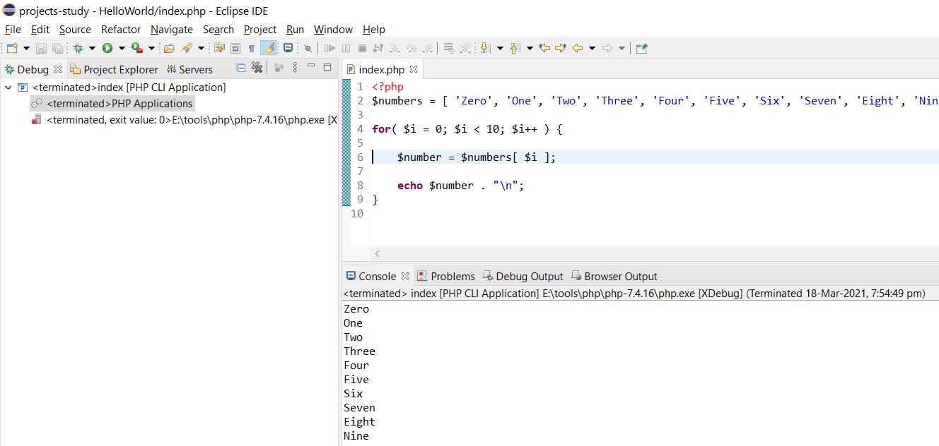 Debug PHP on Windows using Eclipse - Output