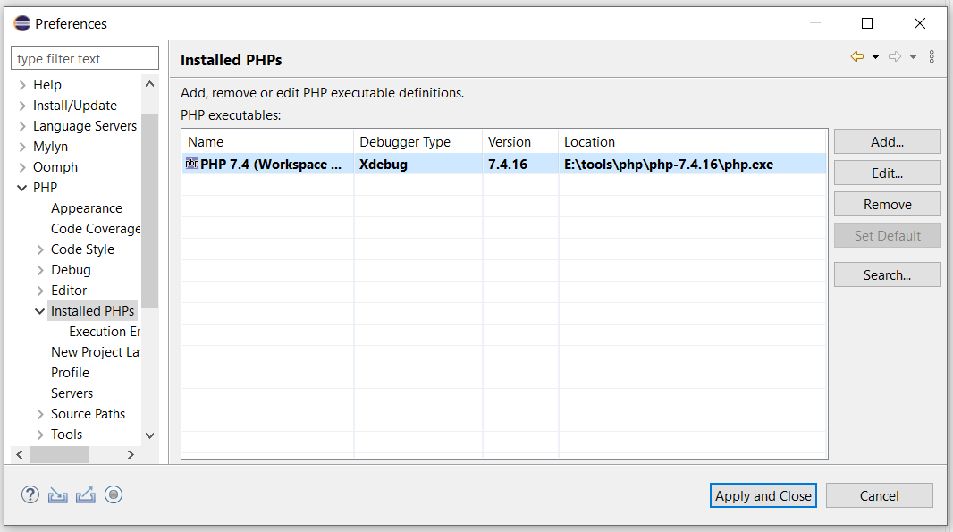 Debug PHP on Windows using Eclipse - Installed PHPs