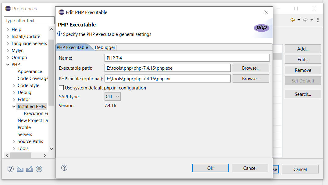 Debug PHP on Windows using Eclipse - PHP Configuration