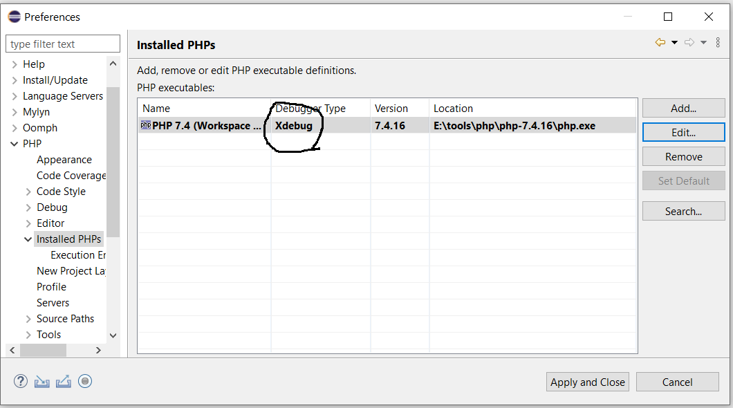Debug PHP on Windows using Eclipse - Debugger Configured