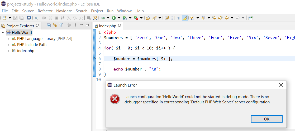 Debug PHP on Windows using Eclipse - Launch Error - Launch Configuration 'HelloWorld' could not be started in debug mode.