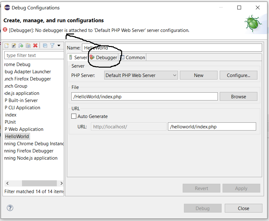 Remote Debug PHP on Windows using Eclipse - Debug Configuration