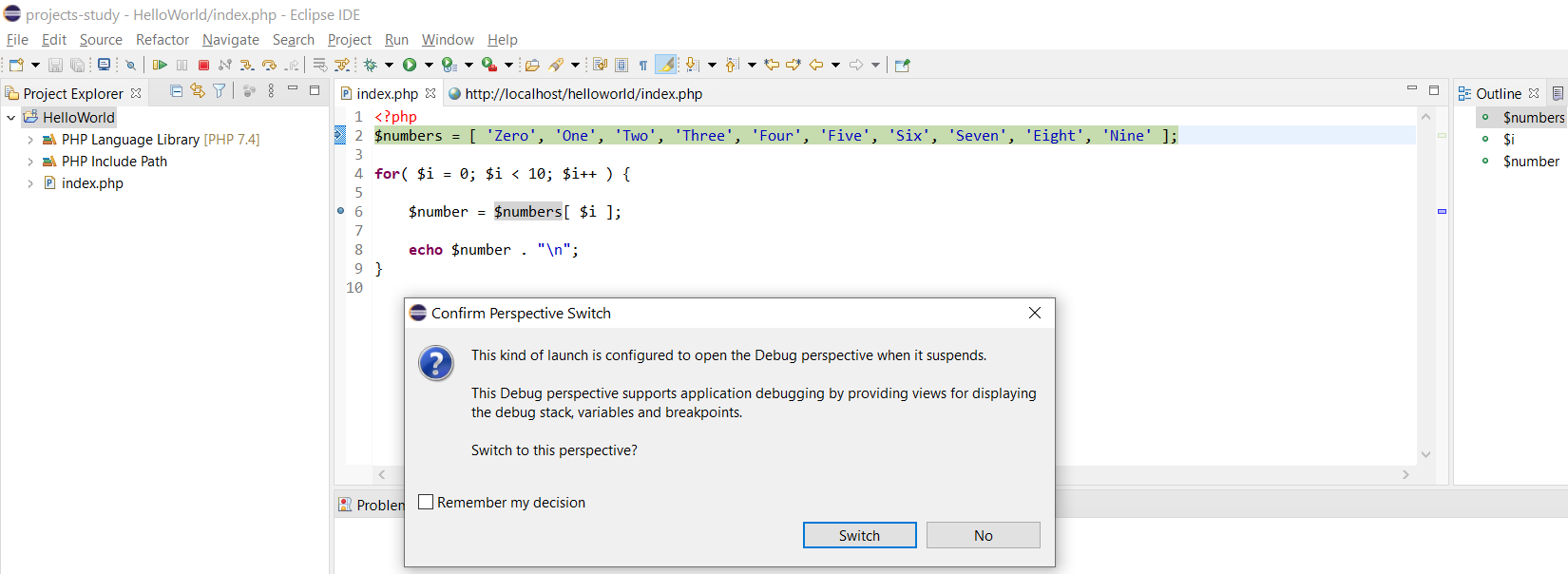 Remote Debug PHP on Windows using Eclipse - Switch Perspective