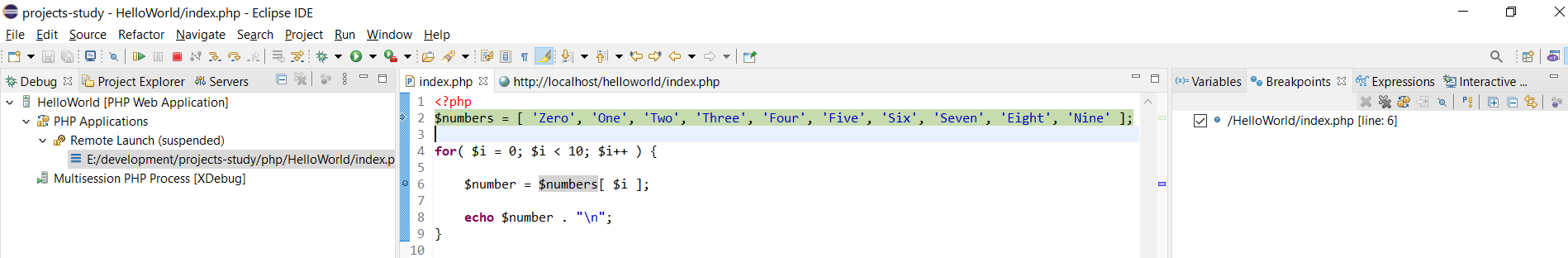 Remote Debug PHP on Windows using Eclipse - Debug Perspective