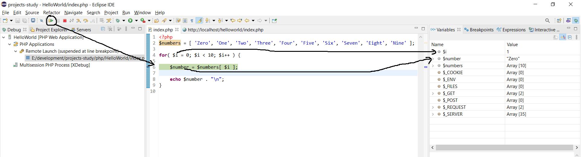 Remote Debug PHP on Windows using Eclipse - Resume Debugger