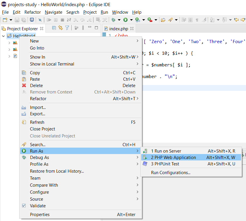 Remote Debug PHP on Windows using Eclipse - Launch Project