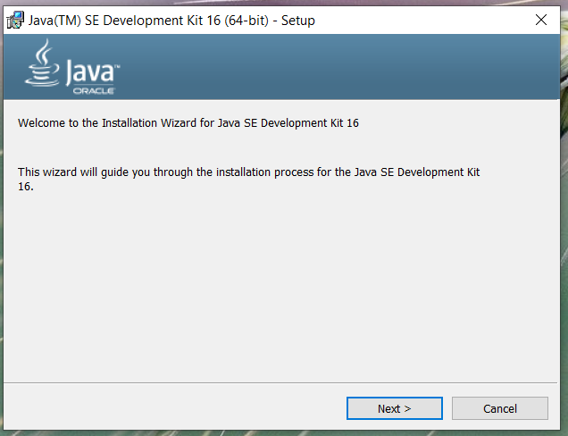 Install Java 16 or JDK 16 on Windows 10 - Welcome Screen