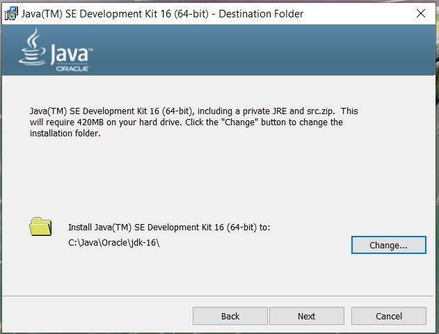 Install Java 16 or JDK 16 on Windows 10 - Installation Path
