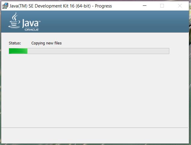 Install Java 16 or JDK 16 on Windows 10 - Installation Progress