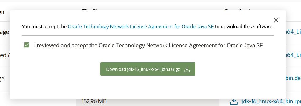 Install Java 16 On Ubuntu 20.04 LTS - License Agreement