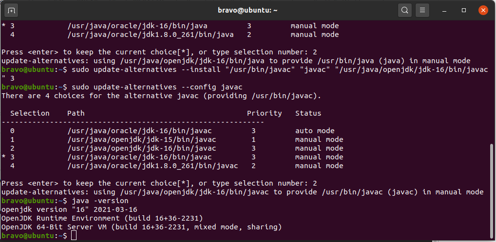 Install OpenJDK 16 On Ubuntu 20.04 LTS - Java Alternatives