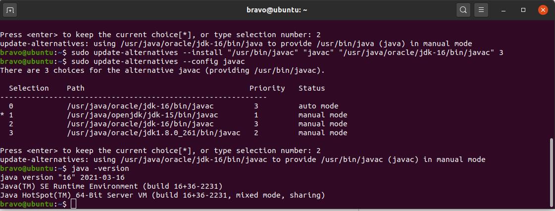 Install Java 16 On Ubuntu 20.04 LTS - Java Alternatives