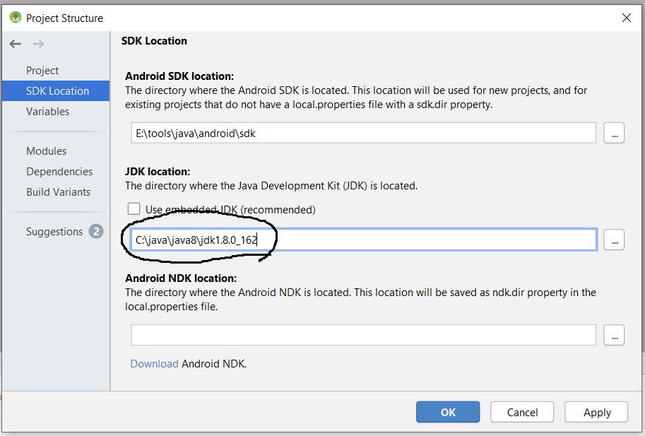 Configure Java SDK Path In Android Studio On Windows