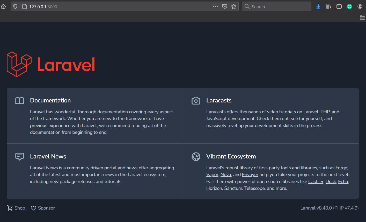 MVC CRUD Operations Using Laravel 8 - Home Page