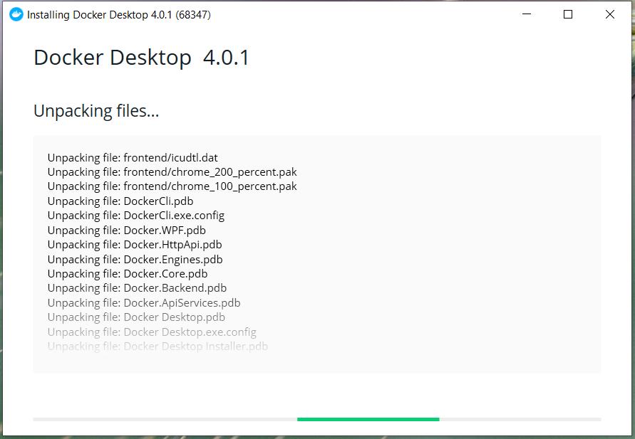 Install Docker Desktop on Windows 10 - Installation Progress