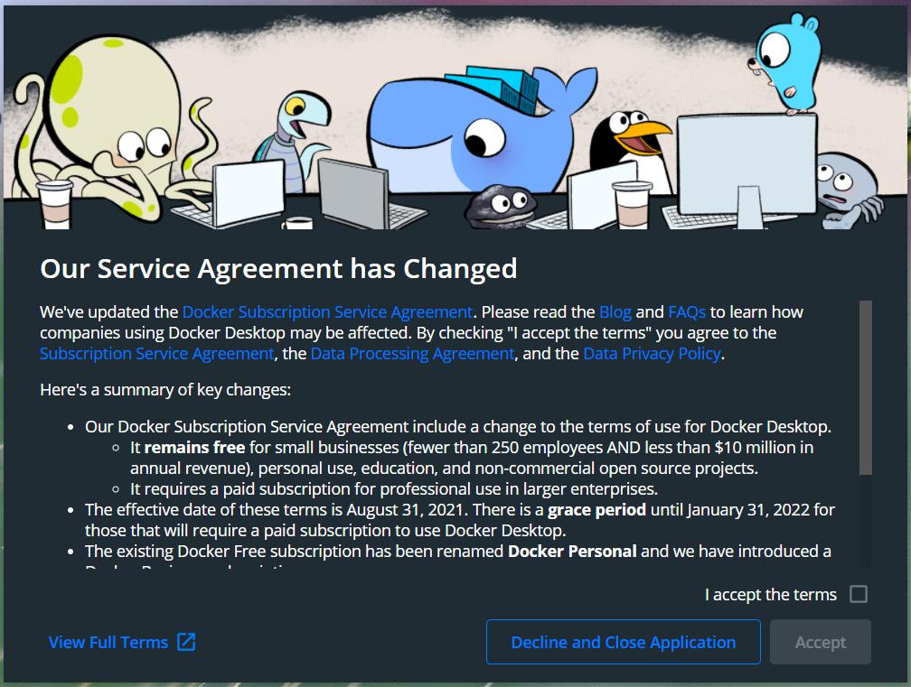 Install Docker Desktop on Windows 10 - Service Agreement