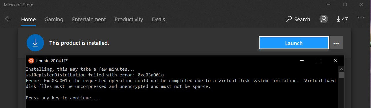 Install Windows Subsystem For Linux WSL 2 on Windows 10 - Launch Error Ubuntu 20.04 LTS