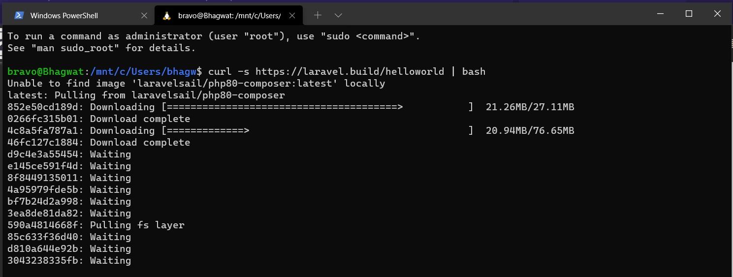 Install Laravel using Docker Desktop on Windows 10 - Create Project