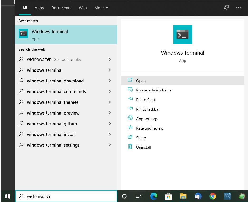 Install Windows Terminal on Windows 10 - Start Menu